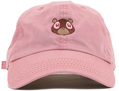 FGSS Mens Bear Print Adjustable Cotton Strapback Dad Hat Baseball Cap Pink