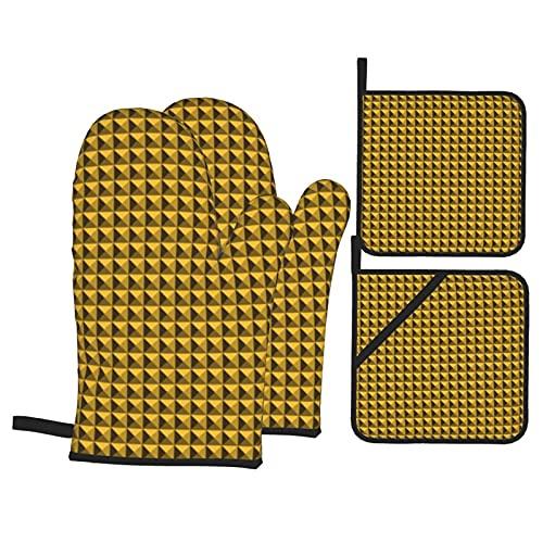 Patrón geométrico pirámide de color amarillo oscuro guantes de horno con 2 soportes para ollas, juego de guantes de cocina resistentes al calor para horno microondas Cocinar barbacoa