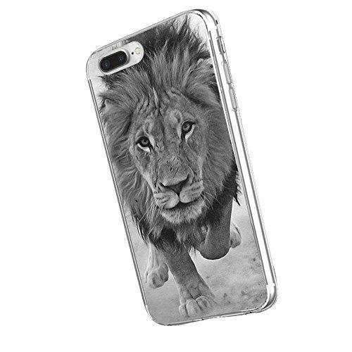 Inonler Custodia Prairie Potente re Leone Schizzo in Bianco e Nero Africano ()(iPhone 6/6S,Nero)