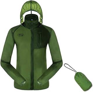 Chaqueta de ciclismo para correr, cortavientos, protección contra el sol, con capucha y protección UV, para exteriores, ultraligera y plegable