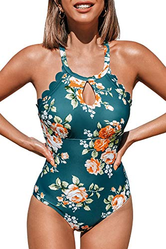 CUPSHE Women's Pink Blue Floral Cutout One Piece Swimsuit Teal XS