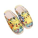 Zapatillas Antideslizantes de Anime de Japón otoño e Invierno Zapatos de casa de Dibujos Animados Suaves y cálidos Zapatillas de Felpa Interior para Hombres y Mujeres, Pikachu, 42-43 Yardas