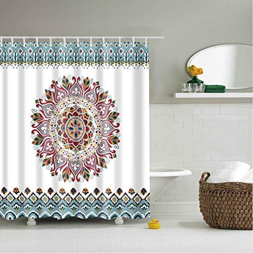 X-Labor - Cortina de ducha multicolor de hojas, 240 x 200 cm, antimoho, resistente al agua, poliéster, tela de baño, cortina de ducha, poliéster, Mandala, 180*200cm (BxH)