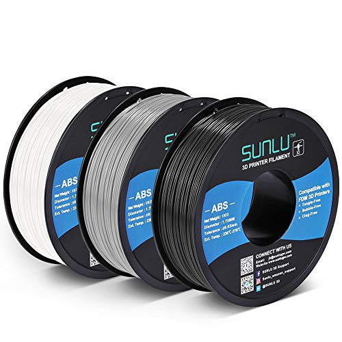 SUNLU ABS Filament 1.75mm for FDM 3D Printer, 3KG(6.6LBS) ABS 3D Filament Accuracy +/- 0.02 mm, Black+White+Grey