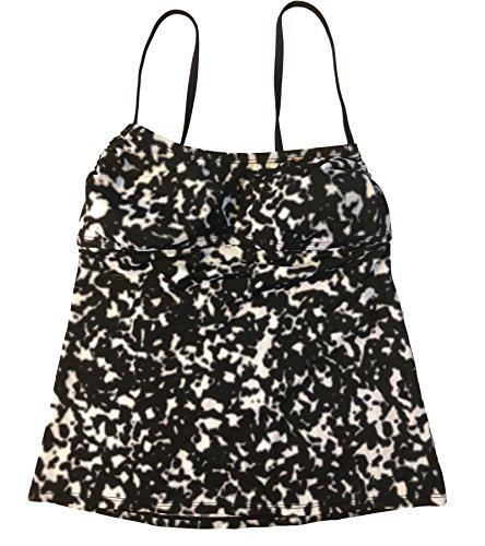 Nike Women's Swimsuit Tankini Top Drawstring Tie Back Swimwear (Medium, Black Animal Print)