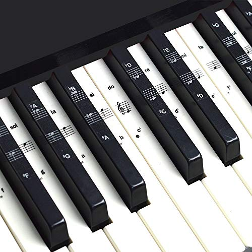 Imelod Keyboard or Piano Stickers for 49/61/76/88 Key Keyboards, Piano and Keyboard Music Note Full Set Stickers for White and Black Keys, Transparent and Removable,Perfect for Kids and Beginners