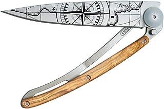 Couteau de Poche Pliant Ultra léger avec Clip Ceinture - Version Olivier 37g - Lame Fine et tranchante - Motif Terra Incog...
