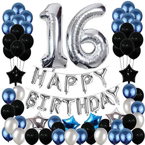Yoart 16. Geburtstag Dekorationen Blau und Silber Schwarz Birthday Party Luftballons für Männer Frauen Party Supplies Foil Star Balloons 80pcs