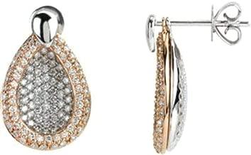 Diamond Pav Interchangeable Earrings in Two-Tone 14k Rose & White Gold
