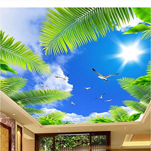 Zybnb Carta da parati murale con foto 3D a soffitto, decorazioni per pareti a soffitto per hotel a tema soggiorno, carte da parati per alberi da spiaggia con nuvole bianche di cielo blu