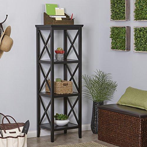 RiverRidge X- Frame Collection 4-Shelf Storage Tower, Espresso
