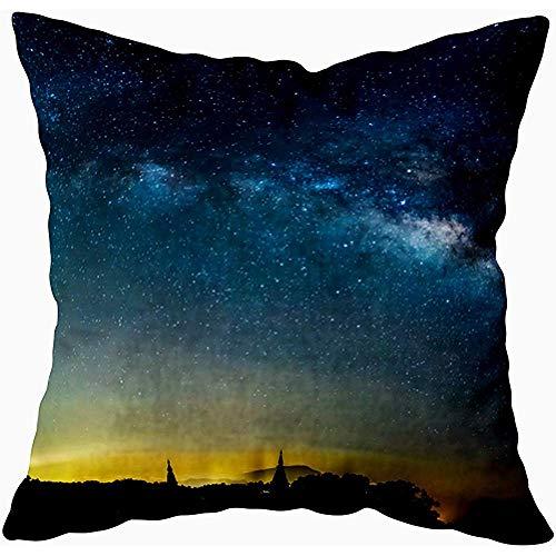 July kussenslopen langdurige verlichting schot afbeelding melkstraat sterren bergkoning nationale foto, lila groen