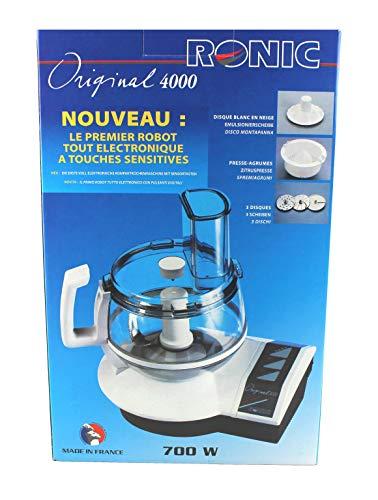 Ronic Original 4000 Küchenmaschine 700 Watt - plus profiliertes Mehrzweckmesser, Schnitzel-/ Raspelscheiben, fein/grob, Pommesfrites-Scheibe, Zitruspresse, Sahnescheibe