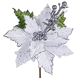 6 Pcs Christmas White Glitter Metallic Lamé Artificial Poinsettia Flower Picks Christmas Tree Ornaments 8.2″ W for White Silver Christmas Tree Wreaths Garland Winter Wedding Holiday Decoration