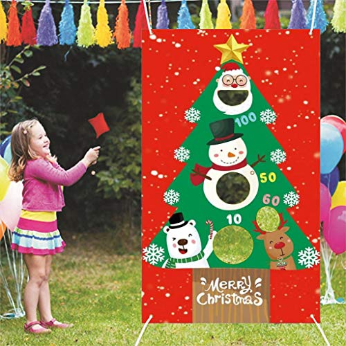 GKanMore Christmas Toss Game Banner with 3 Bean Bags 53'x30' Outdoor Christmas Carnival Toss Game and Decorations Banner for Kids and Adults Christmas Games and Decorations Supplies (Xmas Tree)