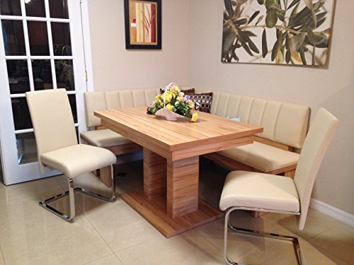 4 Piece Falco breakfast nook, highest quality European leatherette dining set, corner dining set with metal swing chairs kitchen nook beige