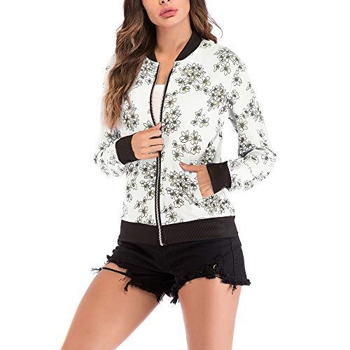 ITISME Damen Strickjacke Frauen Vogel Print Bluse Fashion Baseball Mantel Zipper Jacke (L, Weiß1)