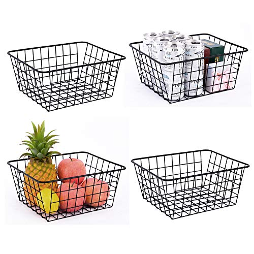 Wire Baskets for Organizing, YIWANFW 4 Pack Wire Storage Baskets With 8 Free Gift Wall Hooks Wire Wall Pantry Storage Baskets for Kitchen,Home, Office, Bathroom, Garage
