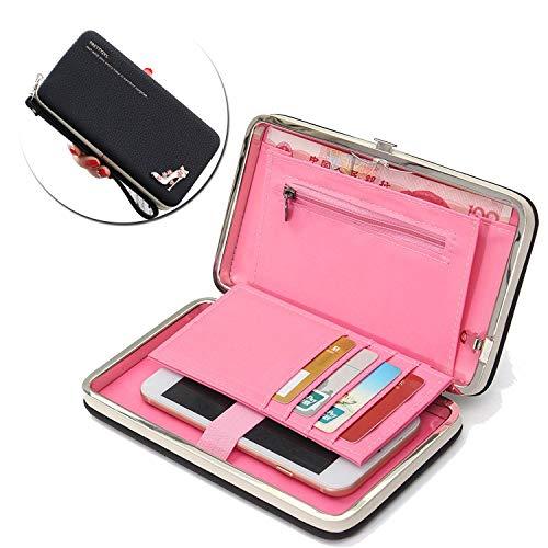 Portafogli da Donna Borsa con diamante tacchi alta modello, Multifunzionale [Grande capacità] Smartphone Wristlet Custodia Case Cover per iPhone Xs Max/8 /7Plus