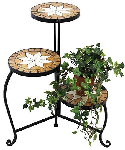 DanDiBo Blumentreppe Mosaik Rund 55 cm Blumenregal 12020 Beistelltisch Pflanzenständer Mosaiktisch Blumenbank