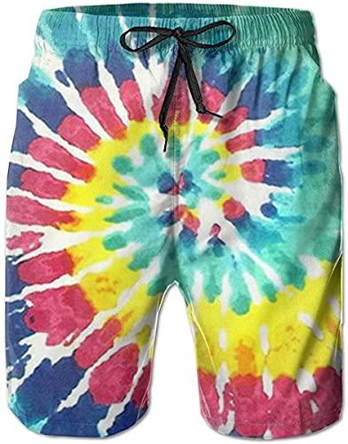 Troncos de natación Pantalones Cortos de Playa de Verano Bolsillos Pantalones Cortos para Hombres Jóvenes Niños Tie Dye Marihuana Cannabis Weed Leaf-Tie Dye Print