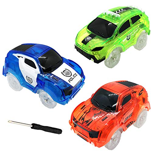 HZMENG Track Cars Compatible with Magic Tracks and Neo Tracks Replacement Light Up Racing Track Accessories with 5 Flashing LED Lights Glow in The Dark Best Toys for Boys and Girls ( 3 Pack )