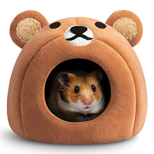 Hollypet Warm Small Pet Animals Bed Dutch Pig Hamster Cotton Nest Hedgehog Rat Chinchilla Guinea Habitat Mini House, Brown Teddy Bear