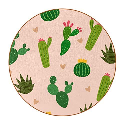 Bennigiry Muchos cactus con mini corazón en el fondo posavasos de cuero redondos resistentes al calor, tazas de café, tazas de cristal, 6 piezas
