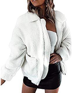 BOZEVON Coats for Women - Fashion Ladies Womens Jacket Coat Long Sleeve Lapel Zipper Faux Fur Winter Warm Parka Outerwear Cardigan Overcoat