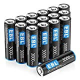 EBL 16 Pack 3000mAh 1.5V Lithium AA Batteries - High Performance Constant Volt Double A Battery for High-Tech Devices (Non-Rechargeable)