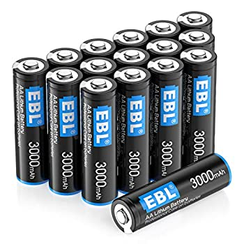 EBL 16 Pack 3000mAh 1.5V Lithium AA Batteries - High Performance Constant Volt Double A Battery for High-Tech Devices  Non-Rechargeable …