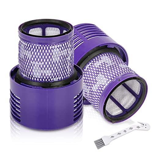 2 Paquete filtros de repuesto Lavables y Reutilizables para Dyson V10 SV12 Cyclone Animal Absolute Total Clean Aspiradora inalámbrica con cepillo de limpieza, Pieza de repuesto DY-969082-01