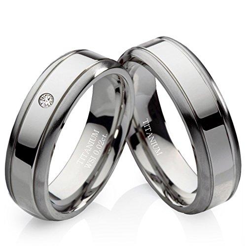 frencheis Verlobungsringe Eheringe Trauringe Hochzeitsringe Titanringe aus Titan mit Diamant und gratis Gravur TDB5