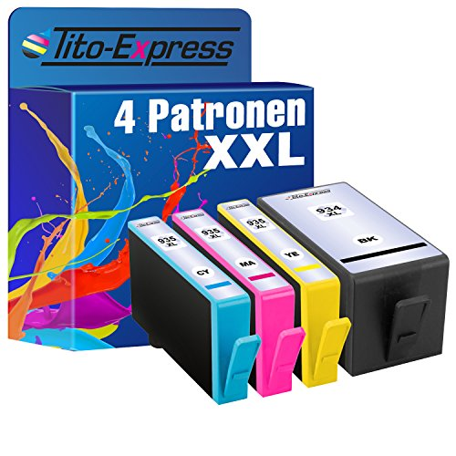 Tito-Express PlatinumSerie 4 Druckerpatronen XXL kompatibel mit HP 934 XL & 935 XL | HP OfficeJet 6800 6812 6815 6820 6822 6825 Pro 6200 6230 6230 6235 6239 6830 6830 6835