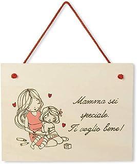 Targa regalo Festa della Mamma o compleanno in legno personalizzabile tema bambina che gioca