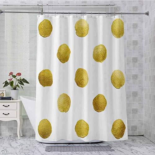 Rideau de douche Ombre à pois cercles anciens motifs pièces de monnaie inspirés par une brosse imprimée comme l'image, 180 x 96 cm Décoration de salle de bain avec crochets, jaune et blanc