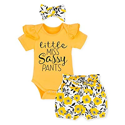 Newborn Baby Girl Clothes Short Sleeve Romper + Floral Short Pants + Headband 3pcs Summer Outfit Set 0-3 Months