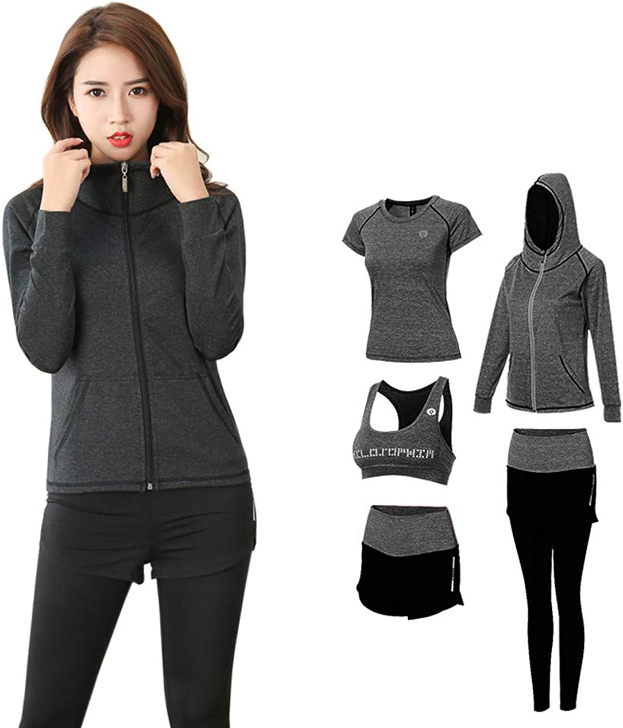 Women's Sports Suit, Yoga Clothes Suit Sports Outdoor Running Slim Jacket Fitness Clothes FivePiece Suit,M