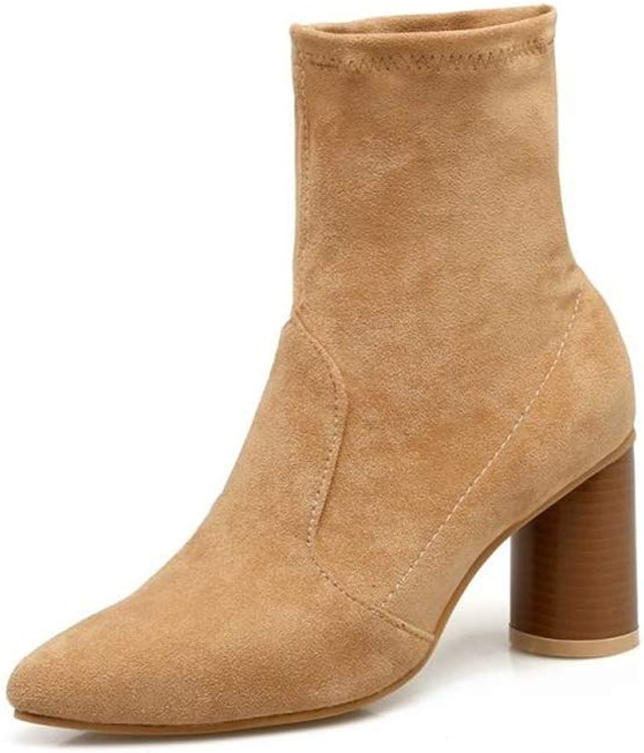 Super explosion Women's Pointed Toe Soft Stretch Sock Style Chunky Block Heel Ankle Bootie