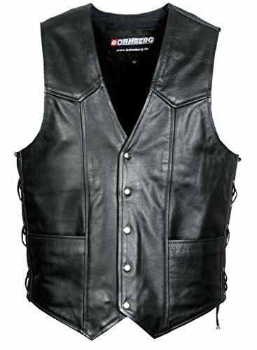 Bohmberg® Premium Leather Vest Gilet en cuir hommes - Moto Gilet - Gilet Avec Laçage Latéral
