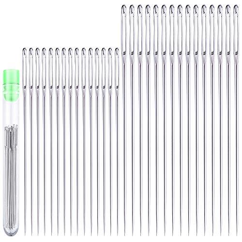 30 Pcs Extra Large Eye Stitching Needles - 2 Sizes - Big Eye Hand Sewing Needles in Clear Storage Tube
