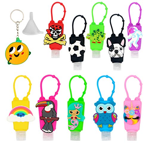 12 Pieces Mixed Kids Hand Sanitizer Travel sized 1 fl oz Flip cap Reusable Empty Portable Bottles Rainbow colors girls gifts (Owl)