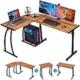 GreenForest L Shaped Desk 58.1' Computer Corner Gaming Desk Writing Studying Table PC Workstation for Home Office Bedroom, Bright Walnut