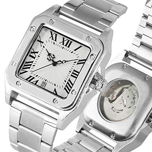 Liandd Quadratisches Gehäuse Mechanische Uhr Extravagante Automatik-Automatik-Stahlskelettuhren Herrenuhren Business Herrenuhr,