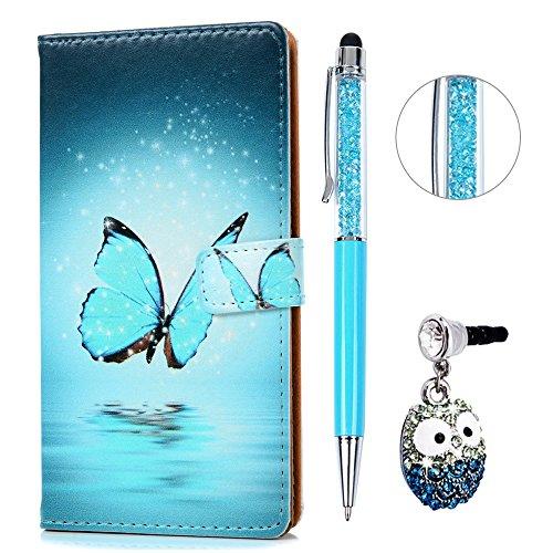 Lenovo K6 Hülle Leder KASOS Handyhülle Bunt Gemalt Case Ledertasche Book Type PU Leder Tasche klapphülle Brieftasche und Magnetverschluss Schutzhülle,Blauer Schmetterling + Stöpsel + Stylus