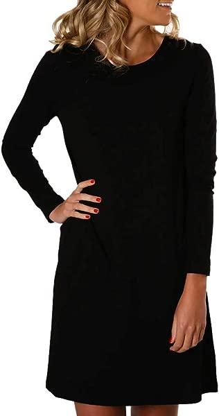 Dress For Women Elegant Fashion Winter Long Sleeved Round NeckPure Color Bottoming Dress Black XL