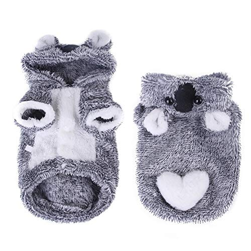 fhong Pet Lovely Gray Koala Costumes, Dog Winter Soft Plush Hooded Jacket,Puppy Warm Pajamas,Two Feet Clothes For Dogs