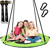 Trekassy 700lb Saucer Tree Swing for Kids Adults 40 Inch Textliene Wear- Resistant Waterproof Frame Includes 2 Tree Hanging Straps - Green
