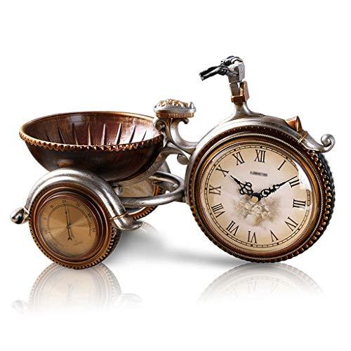 Elegante Reloj de Mesa Triciclo de la cama de la noche retro de estilo europeo saltando el segundo yang mute movimiento de la sala de estar de la sala de estudio Reloj de resina Reloj de Escritorio