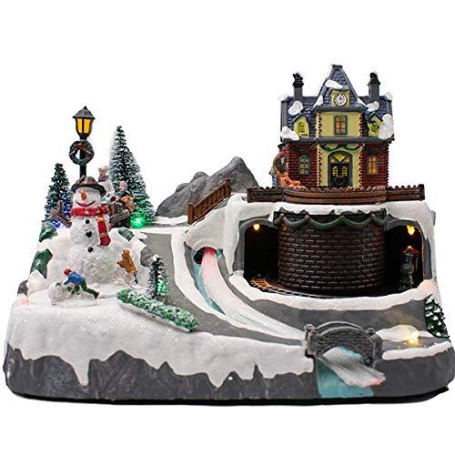 Festive Weihnachtsdörfer mit Sound, 27 cm (Schneemann und Zug)